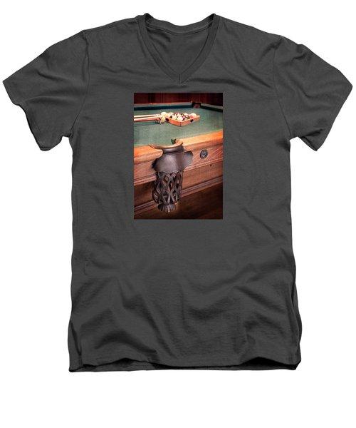 Pool Table Leather Mesh Side Pocket Men's V-Neck T-Shirt