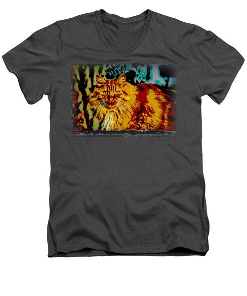 Pop Art Orange Tabby Cat Men's V-Neck T-Shirt