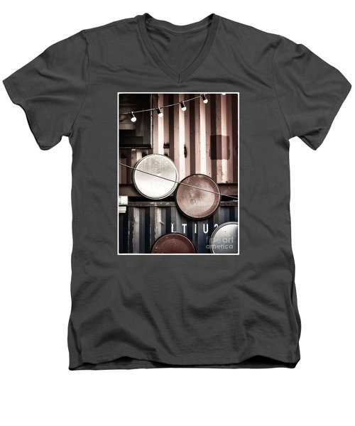 Men's V-Neck T-Shirt featuring the photograph Pop Brixton - Industrial Style by Lenny Carter