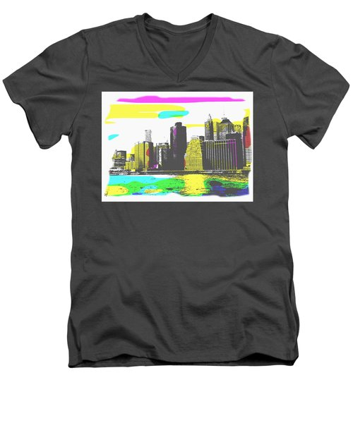 Pop City Skyline Men's V-Neck T-Shirt