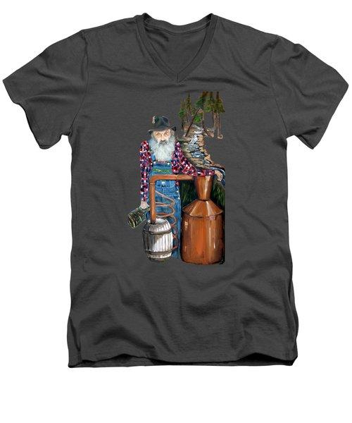 Popcorn Sutton Moonshiner -t-shirt Transparrent Men's V-Neck T-Shirt by Jan Dappen