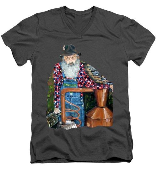 Popcorn Sutton Moonshiner - Tshirt Transparent Torso Men's V-Neck T-Shirt by Jan Dappen