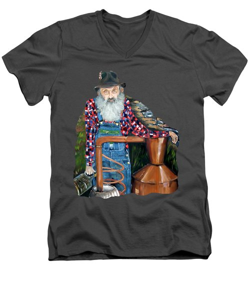Popcorn Sutton Moonshiner - Tshirt Transparent Torso Men's V-Neck T-Shirt
