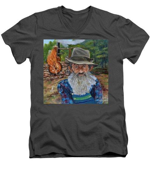 Popcorn Sutton - Rocket Fuel -white Whiskey Men's V-Neck T-Shirt