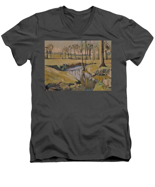 Poplars And Mistletoe Along The River Geul Cottessen Men's V-Neck T-Shirt