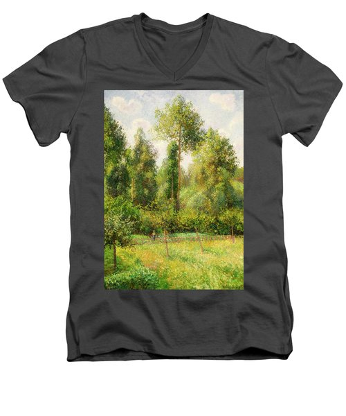 Men's V-Neck T-Shirt featuring the painting Poplars - Eragny by Camille Pissaro