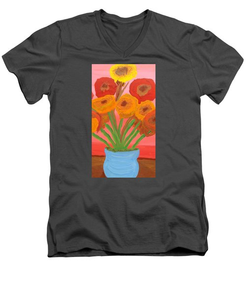 Men's V-Neck T-Shirt featuring the painting Poppies 1 by Don Koester