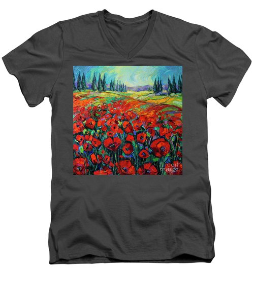 Poppies And Cypresses - Modern Impressionist Palette Knives Oil Painting Men's V-Neck T-Shirt