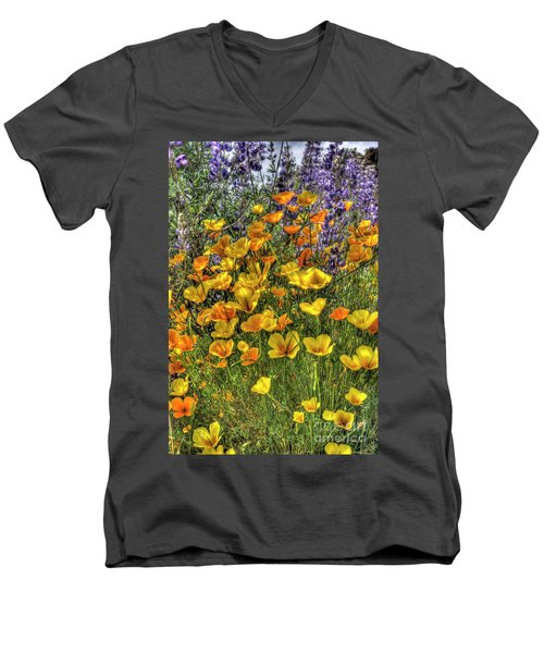 Men's V-Neck T-Shirt featuring the photograph Poppies And Lupines by Jim and Emily Bush