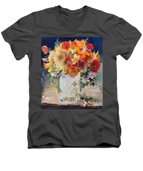 Men's V-Neck T-Shirt featuring the painting Poppies, Clematis, And Daffodils In Porcelain Vase. by Ryn Shell