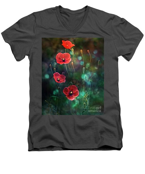 Poppies Fairytale Men's V-Neck T-Shirt by Agnieszka Mlicka