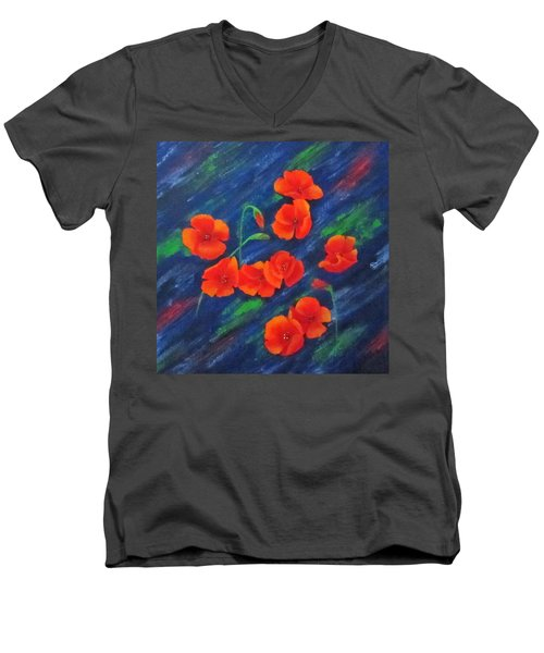 Men's V-Neck T-Shirt featuring the painting Poppies In Abstract by Roseann Gilmore