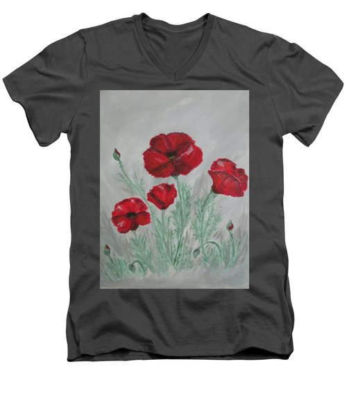 Poppies In The Mist Men's V-Neck T-Shirt by Sharyn Winters