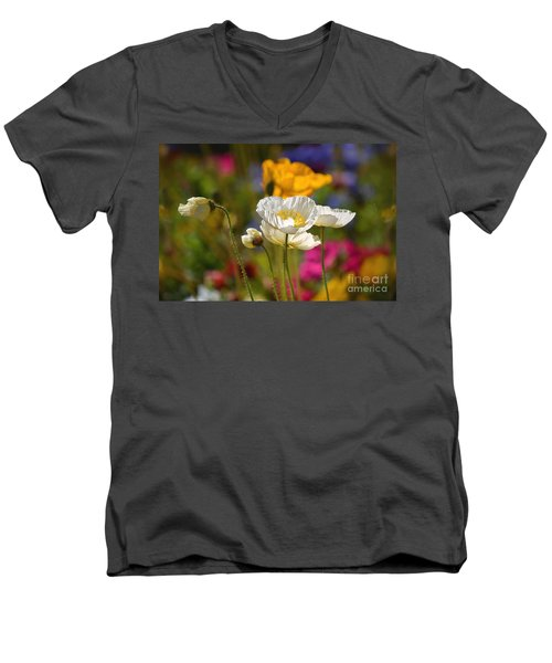 Poppies In The Spring Men's V-Neck T-Shirt by Deb Halloran
