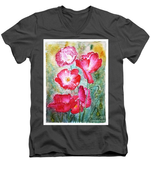 Men's V-Neck T-Shirt featuring the painting Poppies by Jasna Dragun