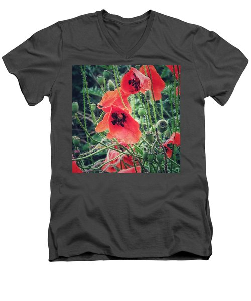 Men's V-Neck T-Shirt featuring the photograph Poppies by Karen Stahlros