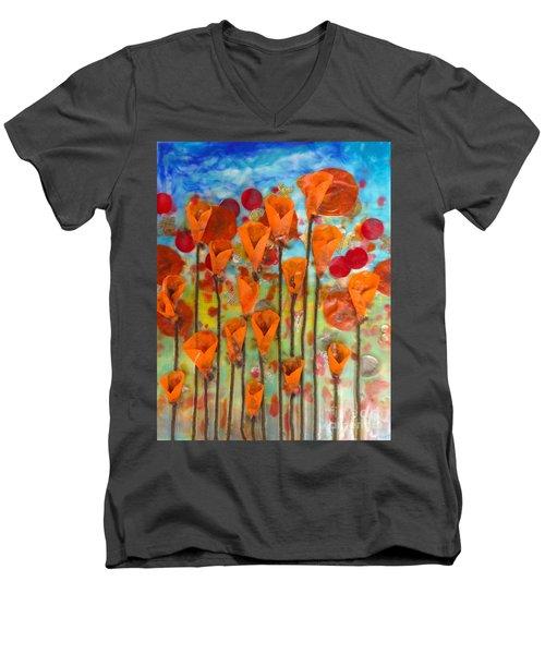 Poppies Make Me Happy Men's V-Neck T-Shirt