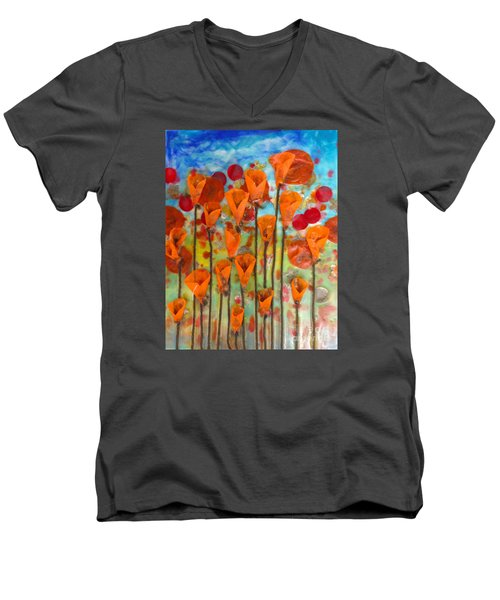 Poppies Make Me Happy Men's V-Neck T-Shirt