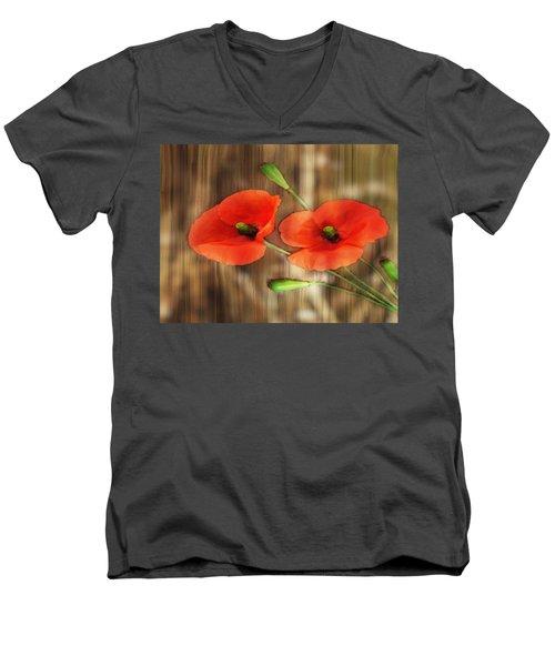 Poppies On Barnwood Men's V-Neck T-Shirt