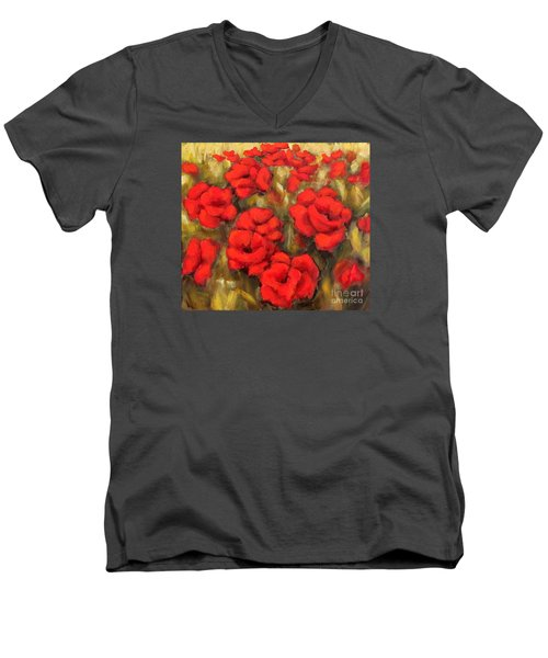Men's V-Neck T-Shirt featuring the painting Poppies Passion Fragment by Inese Poga
