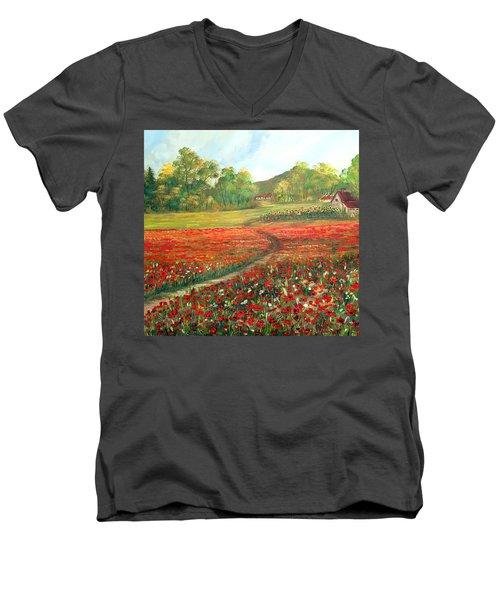 Poppies Time Men's V-Neck T-Shirt