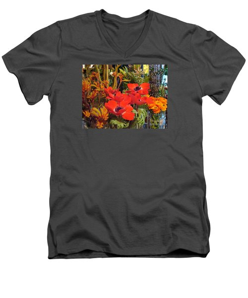 Men's V-Neck T-Shirt featuring the photograph Poppiest by Cathy Dee Janes