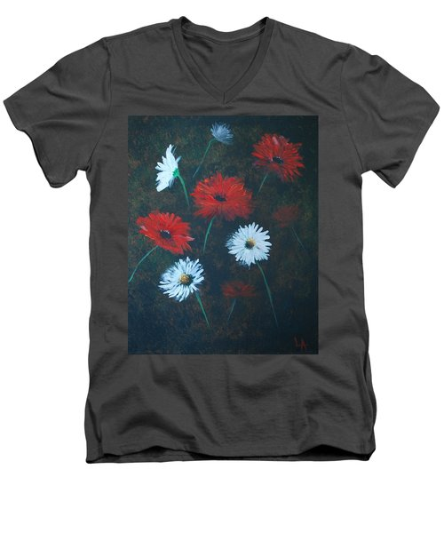 Men's V-Neck T-Shirt featuring the painting Poppin Daisies by Leslie Allen