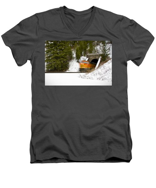 Popping Out Of Tunnel 1012 Men's V-Neck T-Shirt