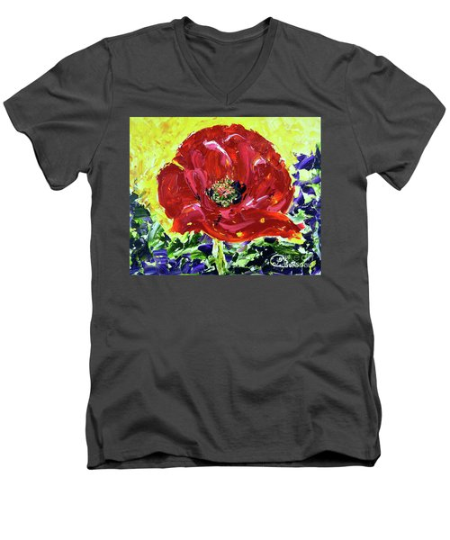 Poppy Amongst Lavender Men's V-Neck T-Shirt by Lynda Cookson