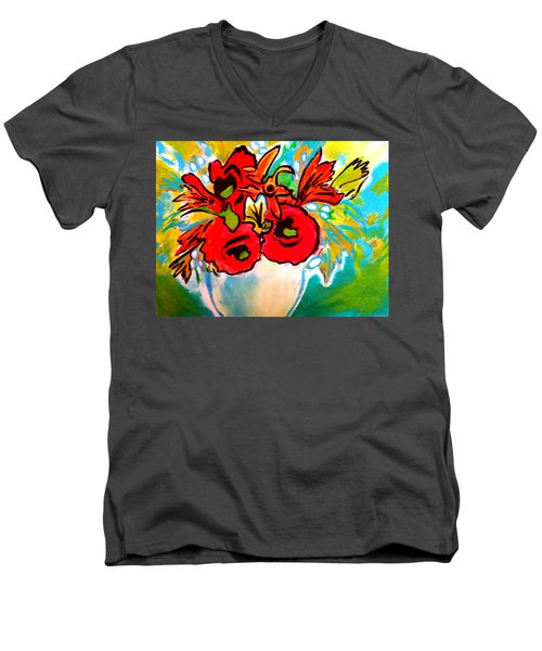Poppy Bouquet Reworked Men's V-Neck T-Shirt