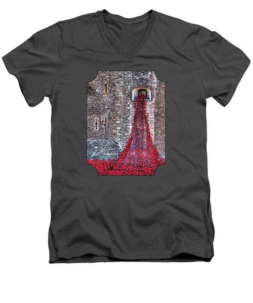 Poppy Cascade Men's V-Neck T-Shirt by Gill Billington