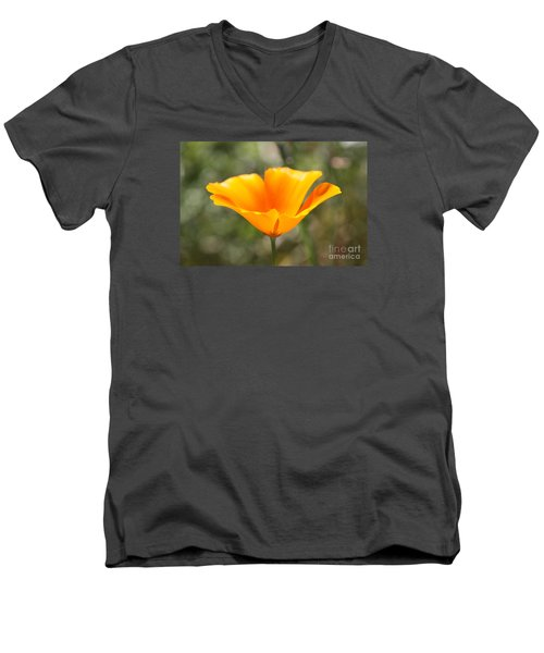 Men's V-Neck T-Shirt featuring the photograph Poppy Flower by Cathy Dee Janes
