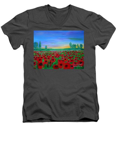 Poppy Field At Sunset Men's V-Neck T-Shirt