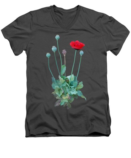Poppy Men's V-Neck T-Shirt by Ivana Westin