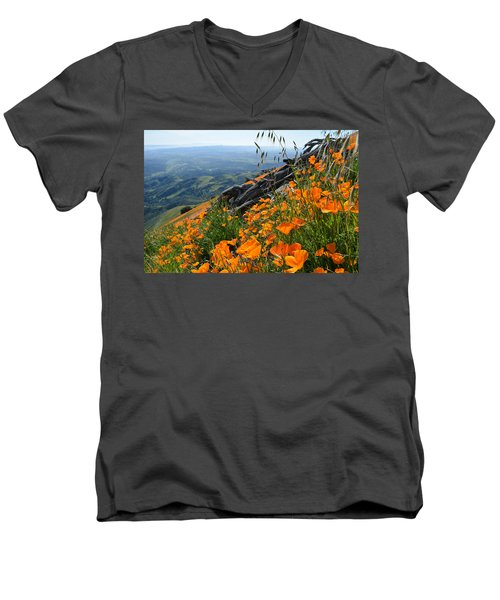 Poppy Mountain  Men's V-Neck T-Shirt by Kyle Hanson