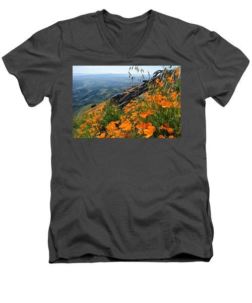 Poppy Mountain  Men's V-Neck T-Shirt