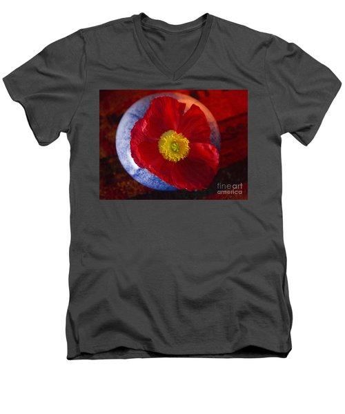 Poppy On Orange Men's V-Neck T-Shirt by Jeanette French
