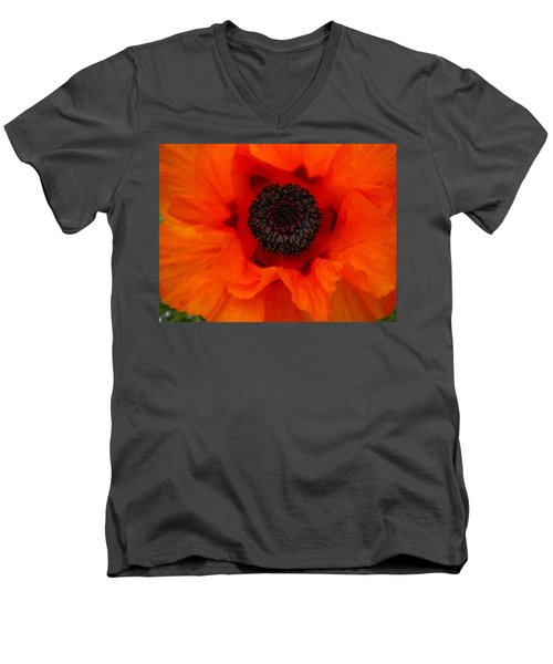 Men's V-Neck T-Shirt featuring the painting Poppy by Renate Nadi Wesley