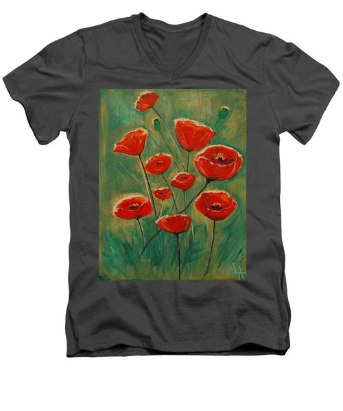 Men's V-Neck T-Shirt featuring the painting Poppy Surprise by Leslie Allen