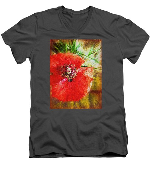 Men's V-Neck T-Shirt featuring the photograph Poppy Variation Too by Kathy Bassett