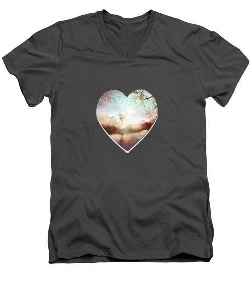 Porcelain Skies Men's V-Neck T-Shirt by Valerie Anne Kelly