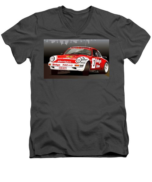 Porsche 911 Rally Illustration Men's V-Neck T-Shirt