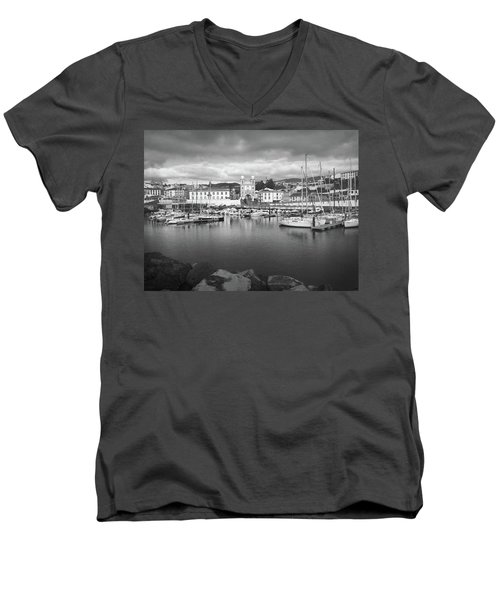 Port Of Angra Do Heroismo, Terceira Island, The Azores In Black And White Men's V-Neck T-Shirt by Kelly Hazel