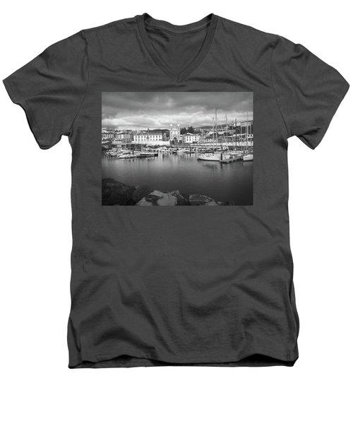 Port Of Angra Do Heroismo, Terceira Island, The Azores In Black And White Men's V-Neck T-Shirt