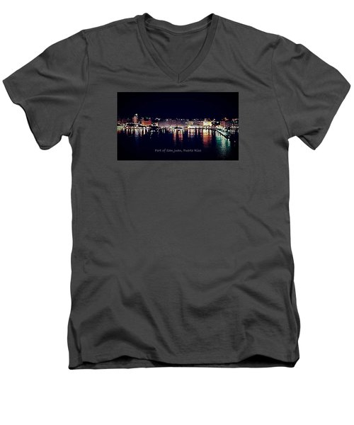 Men's V-Neck T-Shirt featuring the photograph Port Of San Juan Night Lights by DigiArt Diaries by Vicky B Fuller
