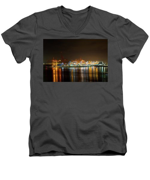 Port Of Vancouver Bc At Night Men's V-Neck T-Shirt