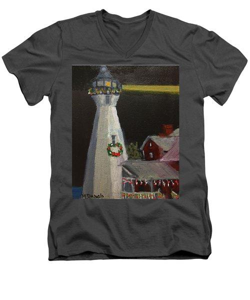 Port Sanilac Lighthouse At Christmas Men's V-Neck T-Shirt