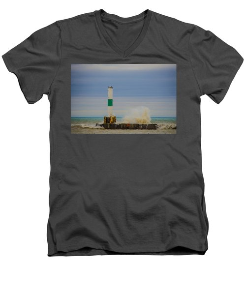 Port Washington Light 2 Men's V-Neck T-Shirt by Deborah Smolinske