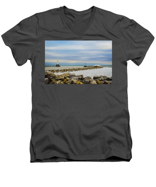 Port Washington Light 5 Men's V-Neck T-Shirt by Deborah Smolinske