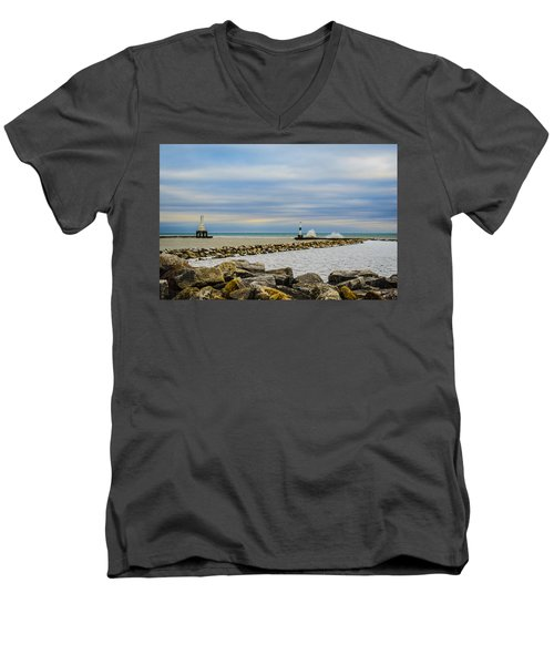 Port Washington Light 6 Men's V-Neck T-Shirt by Deborah Smolinske